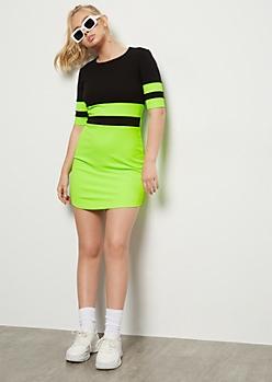 Neon Green Colorblock Mini Bodycon Dress