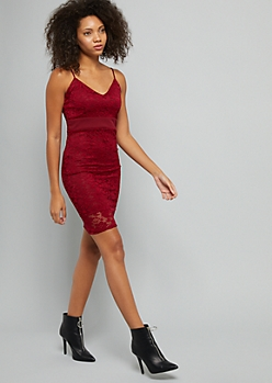 Burgundy Lace V Neck Bodycon Dress
