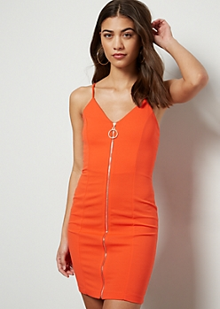 Orange Crepe O Ring Zip Up Dress