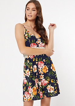 Navy Floral Print Crochet Surplice Dress