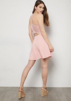 Pink Lace Cutout Back Skater Dress