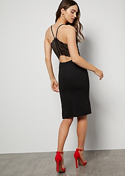 Black Lace Cutout Back Crepe Midi Dress
