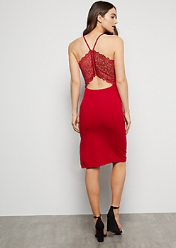 Red Lace Cutout Back Crepe Midi Dress