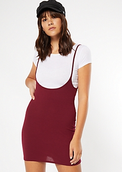 Burgundy Crew Neck Overall Dress