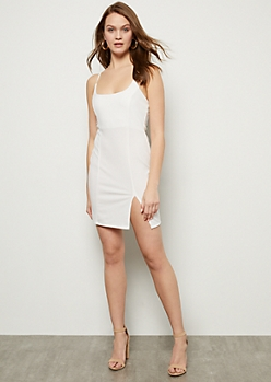 Ivory Pendant Racerback Bodycon Dress