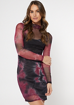 Magenta Tie Dye Mesh Mini Dress