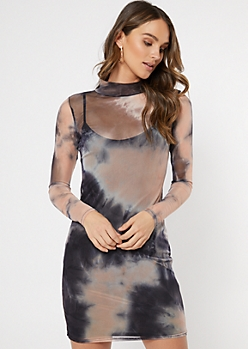 Black Tie Dye Mesh Mini Dress