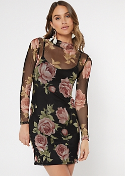 Black Floral Print Mesh Mini Dress