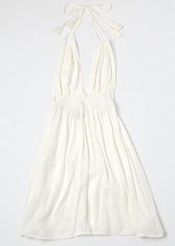 Cream Open Back Halter Tassel Mini Dress