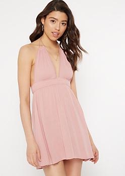 Pink Crochet Trim Halter Mini Dress