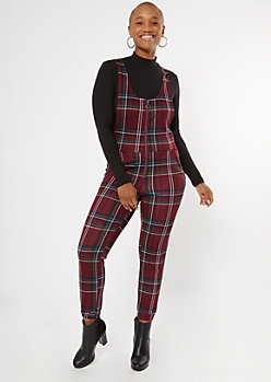 Burgundy Plaid Zip Front Sleeveless Jumpsuit