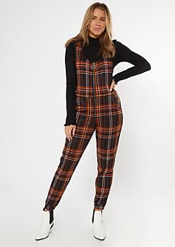 Black Plaid Zip Front Sleeveless Jumpsuit