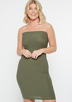 Olive Green Strapless Tube Dress