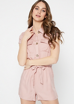 Light Pink Button Down Cargo Romper