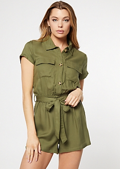 Olive Button Down Cargo Romper