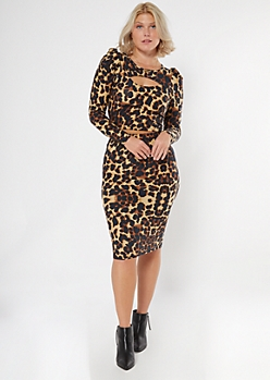 Cheetah Print Puff Sleeve Matching Set