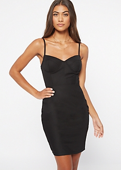 Black Underwire Ribbed Knit Bodycon Dress