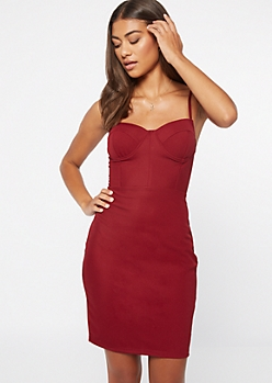 Burgundy Underwire Ribbed Knit Bodycon Dress
