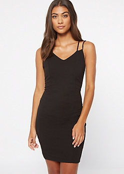 Black Crisscross Strap Bodycon Dress
