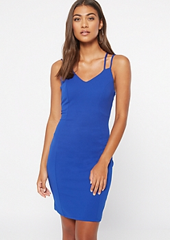 Royal Blue Crisscross Strap Bodycon Dress