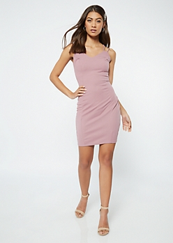 Purple Crisscross Strap Bodycon Dress