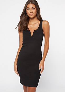Black Notched Neck Structured Bodycon Dress
