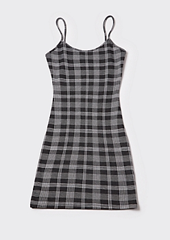Black Plaid Mini Cami Dress