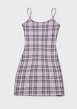 Lavender Plaid Mini Cami Dress