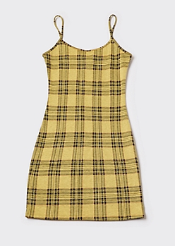 Yellow Plaid Mini Cami Dress