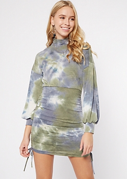 Olive Tie Dye Ruched Drawstring Sweatshirt Dress