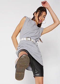 Heather Gray Shoulder Pad Mini T-Shirt Dress