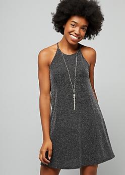 Silver Metallic High Neck Mini Swing Dress