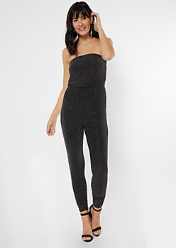 Black Sparkle Ruched Strapless Jumpsuit