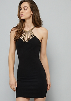Black Beaded Gem Caged Neck Mini Dress