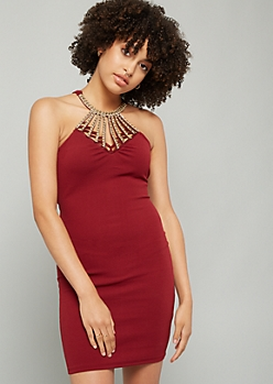 Dark Red Beaded Gem Caged Neck Mini Dress