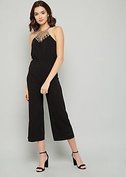 Black Embellished High Neck Flare Jumpsuit