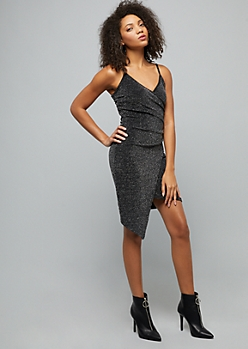 Black Metallic Asymmetrical Mini Wrap Dress