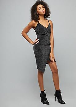 BlackMetallic Asymmetrical Mini Wrap Dress