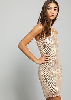 Rose Gold Sequin Mesh Square Neck Mini Dress