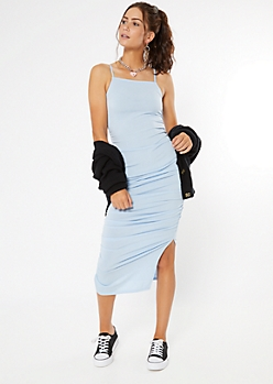Light Blue Sleeveless Ruched Bodycon Midi Dress
