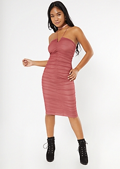 Pink Notched Ruched Mesh Midi Dress