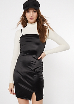 Black Satin Straight Neck Dress