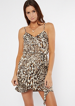 Leopard Print Satin Wrap Mini Dress