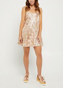 Sequined Wildflower Swing Dress