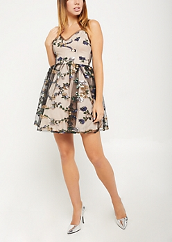 Sequined Floral Party Dress
