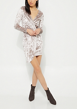 Crushed Velvet Surplice Wrap Dress