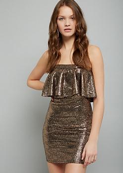 Rose Gold Strapless Mini Bodycon Dress