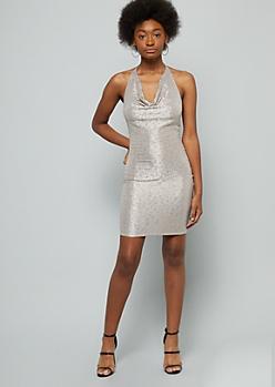 Champagne Sparkle Slouchy Halter Bodycon Dress