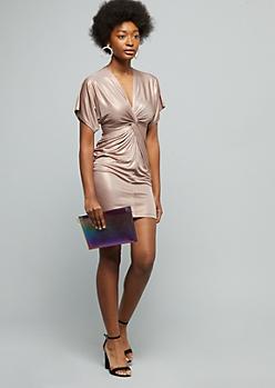 Rose Gold Sparkle Knot Front Dolman Bodycon Dress