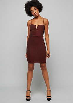 Red Glitter V Neck Bodycon Mini Dress